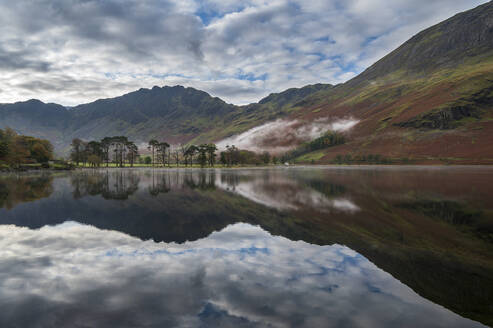 Buttermere reflections in the lake, Lake District National Park, UNESCO World Heritage Site, Cumbria, England, United Kingdom, Europe - RHPLF16881