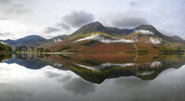 Panoramic view of Buttermere, Lake District National Park, UNESCO World Heritage Site, Cumbria, England, United Kingdom, Europe - RHPLF16884