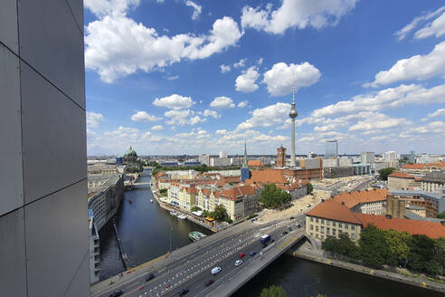Germany, Berlin, Clouds over bridge stretching across Spree river canal - NGF00593