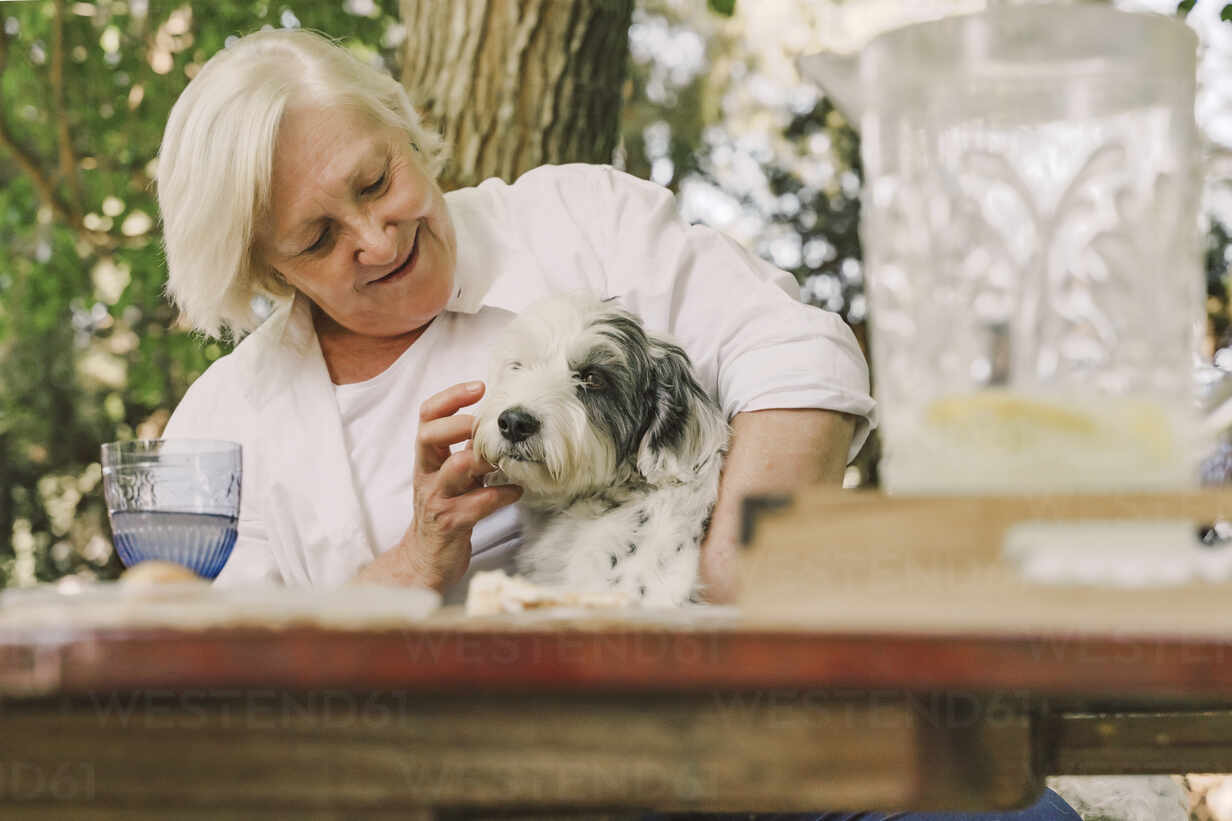 Smiling senior woman playing with dog while sitting at table in yard - ERRF04163 - Eloisa Ramos/Westend61
