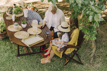 Multi-generation family enjoying picnic at table in yard - ERRF04166