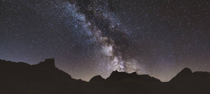 Milky Way and its core over the mountains at Sierra de Gredos, Spain - CAVF87806
