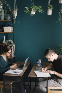 Young man and woman working on desks at home - ALBF01317