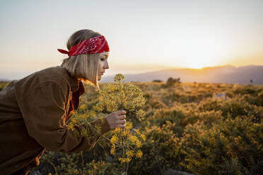 Woman in the countryside smelling at a flower at sunrise - RCPF00277