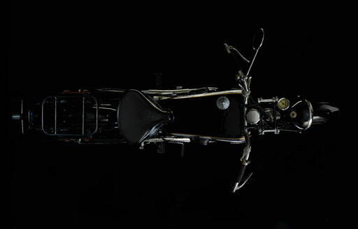 Top view of vintage motorcycle with black background (NSU OSL 351) - SRSF00661