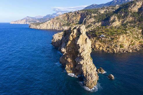 Spain, Mallorca, Deia, Drone view of Sa Foradada peninsula in summer - SIEF09970