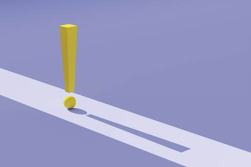 Three dimensional render of yellow exclamation point against purple background - DRBF00184