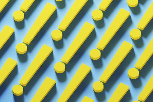 Multiple yellow exclamation points organized in a row over blue background, 3D Illustration - DRBF00187