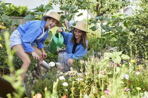 Happy female friends watering flowers in community garden - UKOF00053