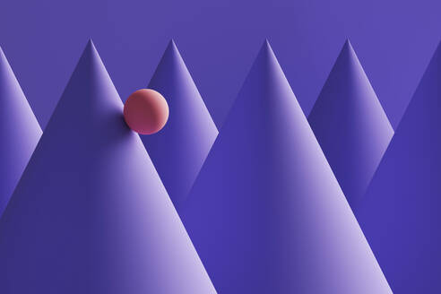 Three dimensional render of orange sphere rolling down purple cones - DRBF00199