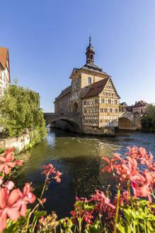 Deutschland, Bayern, Franken, Bamberg, Altstadt, Regnitz, Obere Brücke, Altes Rathaus - WDF06143