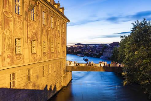 Deutschland, Bayern, Franken, Bamberg, Altstadt, Regnitz, Altes Rathaus, Fassade, Malereien, Untere Brücke, Klein Venedig - WDF06155