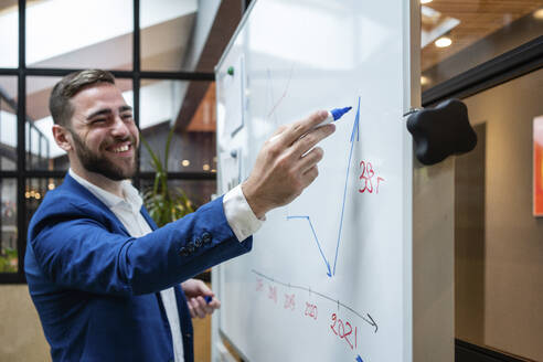 Smiling handsome businessman drawing graph on whiteboard during meeting in board room at office - VPIF02730