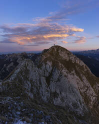HIker standing on viewpoint, Saeuling, Bavaria, Germany - MALF00063