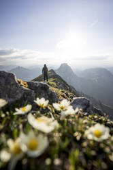 Hiker on viewpoint, Brentenjoch, Bavaria, Germany - MALF00084
