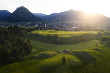 Aerial view of Pfronten at sunset, Bavaria, Germany - MALF00093