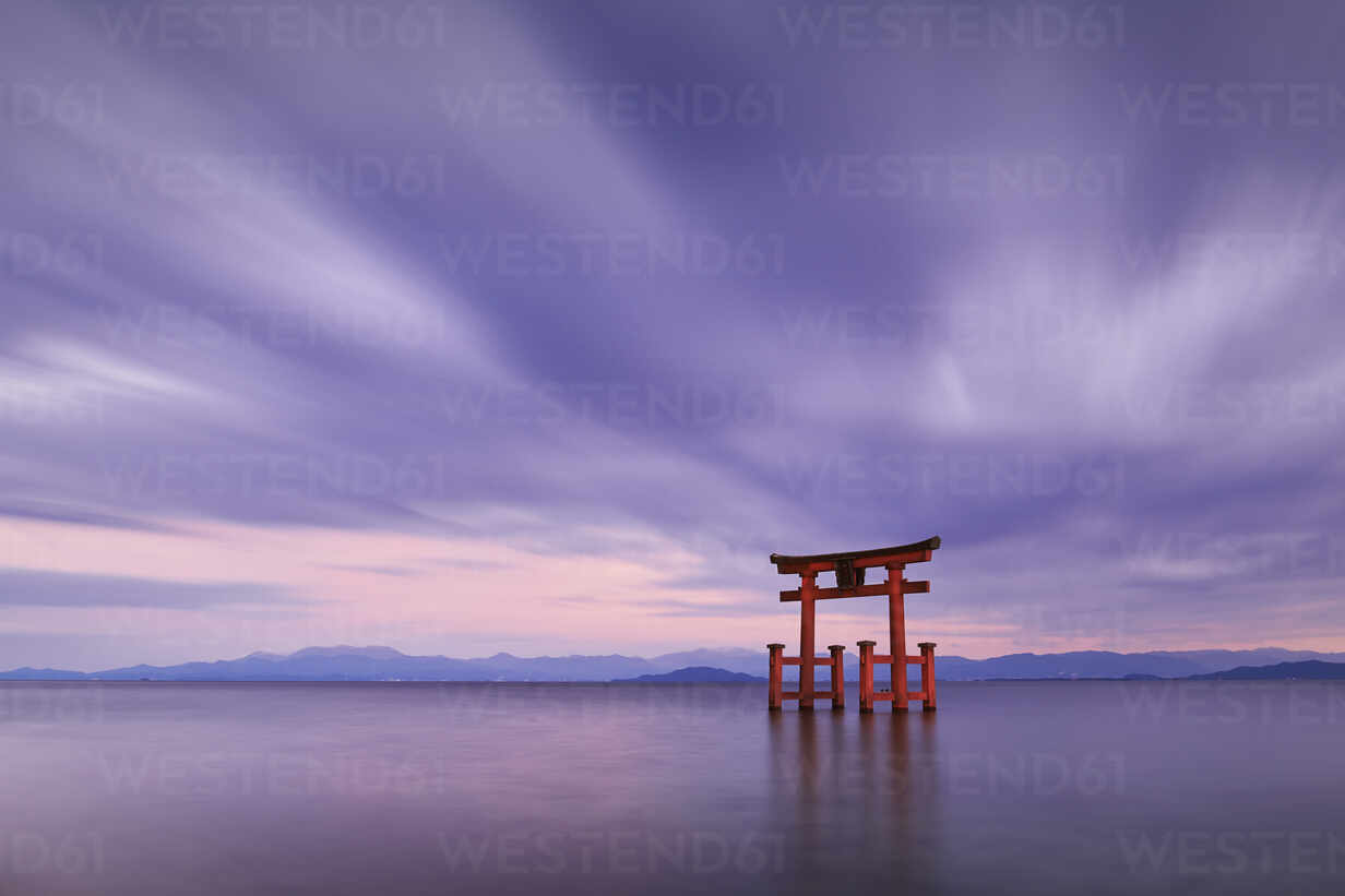 Long Exposure Shot Of Shirahige Shrine Torii Gate At Sunset At Lake Biwa Shiga Prefecture Japan