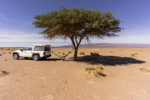 Man resting in hammock hanging between lone desert tree and off-road car - MALF00137