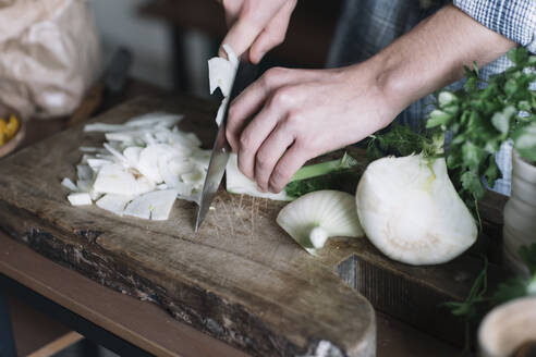 Hands of man cutting fennel on board in kitchen - ALBF01400