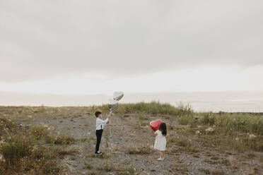 Siblings with heart shape balloon standing against sky in field - SMSF00293
