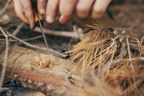 Hands of bushcrafter preparing for campfire - SASF00025