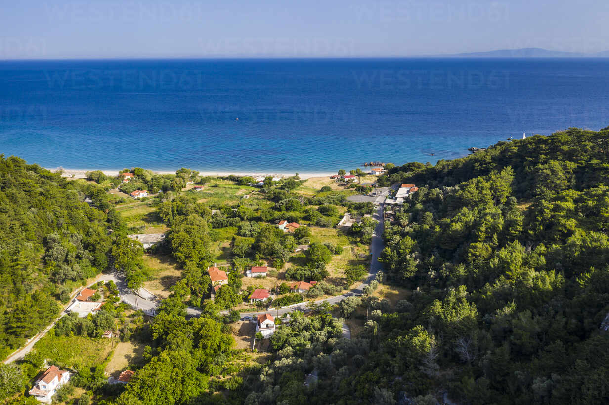 Aerial View Of Houses On Shore Of Samos Island With Potami Beach In Background Runf04086 Michael