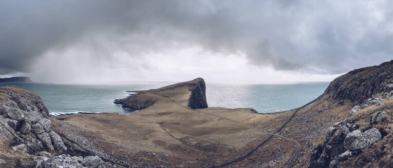 UK, Scotland, Panorama of cloudy sky over Neist Point peninsula - RSGF00257