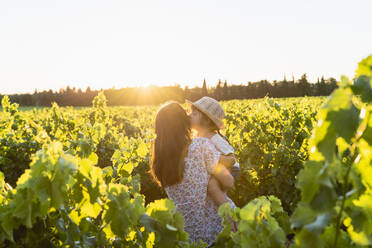 Mother holding her daughter in a vineyard at sunset in Provence, France - GEMF04114