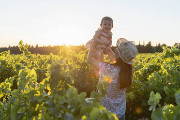 Mother holding her daughter in a vineyard at sunset in Provence, France - GEMF04120