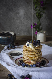 Tasty pancakes with blackberries and blueberries - ADSF14694