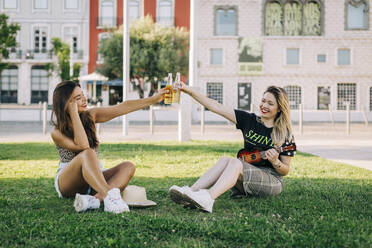 Cheerful female friends toasting drinks while sitting on grassy land - DCRF00791