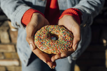 Close-up of young woman hands holding donut - BOYF01469