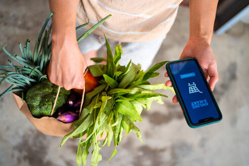 From above of anonymous female standing with paper bag with ripe fruits and vegetables delivered through app for online shopping - ADSF15000