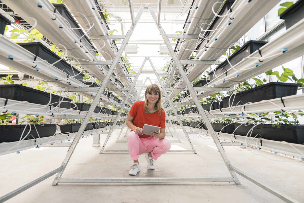 Smiling businesswoman with digital tablet crouching on floor in greenhouse - JOSEF01634 - Joseffson/Westend61