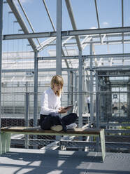 Female owner using digital tablet while sitting on seat in greenhouse - JOSEF01655
