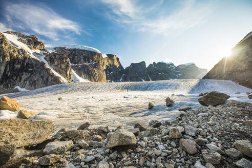 Glaciated mountain landscape in Auyuittuq National Park - CAVF88806