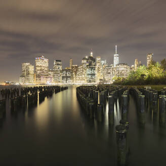USA, New York, New York City, Lower Manhattan skyline at night - AHF00012