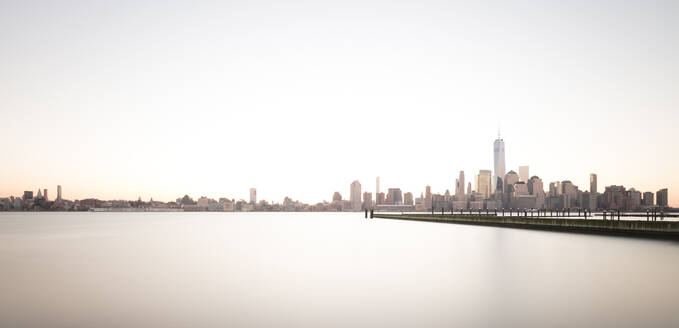 USA, New York, New York City, USA, Lower Manhattan skyline at sunrise - AHF00021