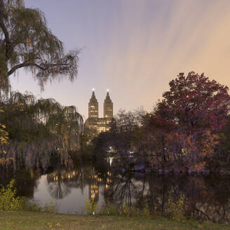 USA, New York, New York City, The San Remo building from Central Park at sunset - AHF00033