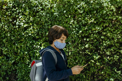 Schoolboy wearing mask using smart phone while standing against plants - VABF03467