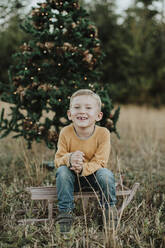 Smiling boy sitting on sled against Christmas tree at countryside - GMLF00598