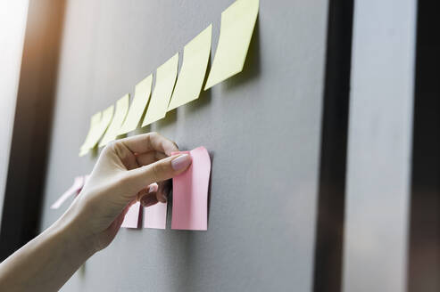 Close-up of businesswoman hand sticking adhesive notes on wall in office - BMOF00421