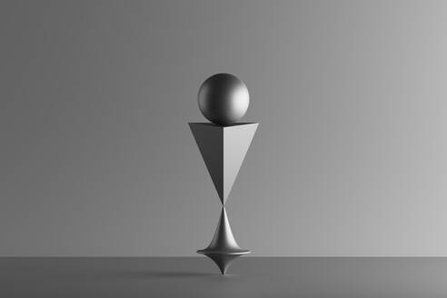 A pyramid and sphere in balance on top of a spinning whirligig, 3D Render - DRBF00212