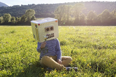 Boy with cardboard box on face holding flower while sitting on grass in meadow - VABF03518