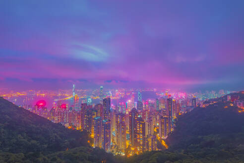 Futuristic vaporwave look at Hong Kong from Victoria Peak at night - LCUF00116