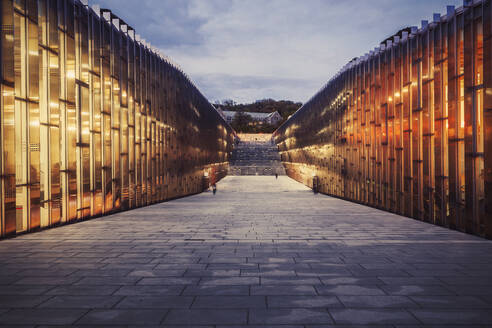Illuminated Ewha Womans University during sunset, Seoul - LCUF00122