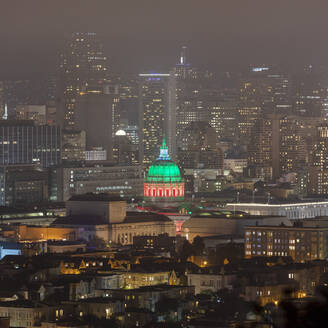 Night view of financial district and city hall at San Francisco, California, USA - AHF00115