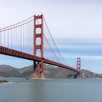 Golden Gate Bridge against clear sky in San Francisco, California, USA - AHF00124