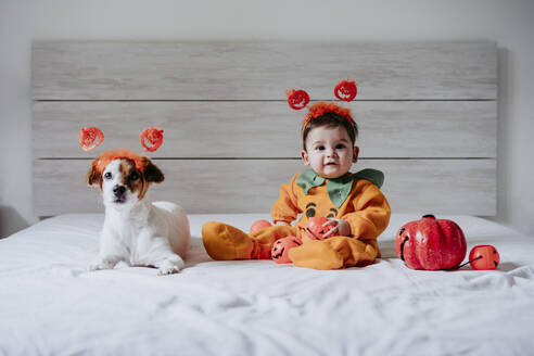 Cute baby boy and dog wearing halloween costume sitting on bed at home - EBBF00911