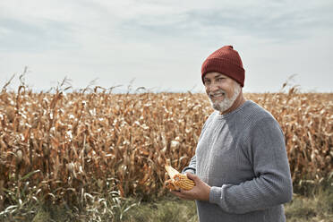 Smiling farmer holding corn while standing at corn farm - ZEDF03989